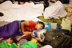 Keleti火车站的战争难民 免版税图库摄影