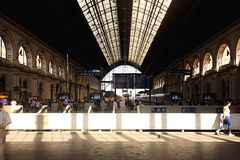 Keleti Pályaudvar Train Station - Budapest - Hungary. Train Station Lights and Shadows People Royalty Free Stock Photography
