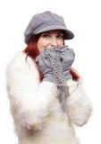 Kelig flicka i varmt bekläda för vinter Fotografering för Bildbyråer