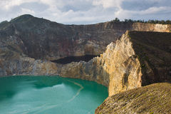 Kelimutu color lakes Royalty Free Stock Photo