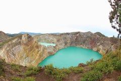Kelimutu krater sjöar Royaltyfria Foton