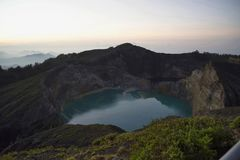 Aerial view of Kelimutu lake of Indonesia. Kelimutu lake, Indonesia. Kelimutu is a volcano, close to the small town of Moni in central Flores island in Indonesia stock image