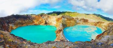 Kelimutu lakes. Volcanic lakes Ato Polo and Nuamuri koofai . National park Kelimutu Stock Photography