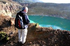 kelimutu nära vulkan Arkivbild