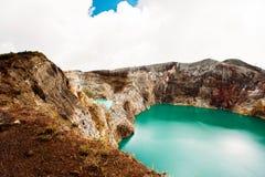 Kelimutu National Park in Indonesia. Colored lakes in Kelimutu volcano crater, Flores. royalty free stock photo