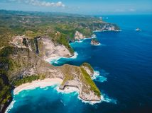 Kelingking beach on Nusa Penida Island. Aerial drone view of tropical island stock image