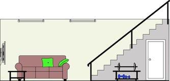 Keller mit Möbeln lizenzfreie abbildung