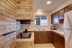 Kellerküchenraum mit Kamin Lizenzfreies Stockfoto