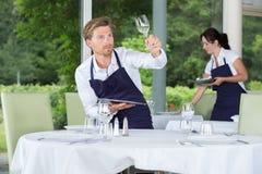Kellner, der die Glaswaren sauber überprüft Stockbild