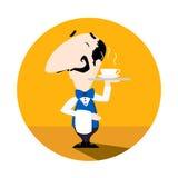 Kellner, der eine Schale der heißen Vektorillustrations-Spaßkarikatur des Kaffees oder des Tees flachen dient Lizenzfreies Stockbild