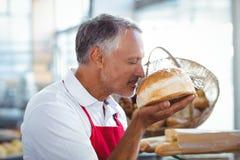 Kellner, der frisch gebackenes Brot riecht Lizenzfreie Stockfotos