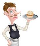 Kellner des Karikatur-kleinen Kuchens Stockfotografie