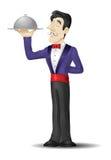 Kellner mit einem Behälter stockfotografie