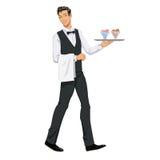 Kellner mit Eiscreme Stockfotografie