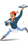 Kellner mit Kaffee Stockbild
