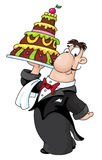 Kellner mit Kuchen Stockfotos