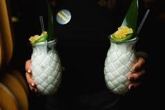 Kellner trägt zwei weiße Cocktails lizenzfreie stockfotos