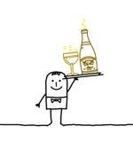 Kellner u. Champagne Stockbild