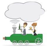 Kellner und Kellnerin auf der Weinflaschenlokomotive Lizenzfreies Stockbild