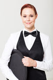 Kellnerin mit leerem Tellersegment Stockbild
