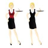 Kellnerin mit Tellersegment Lizenzfreies Stockfoto
