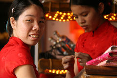 Kellnerinnen - Hoi An - Vietnam Lizenzfreie Stockbilder