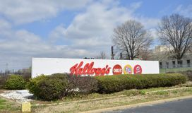 Kellogg`s Cereal Company, Jackson, Tennessee. Kellogg`s produces cereal and convenience foods, including cookies, crackers, toaster pastries, cereal bars, fruit Royalty Free Stock Photos