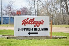 Kellogg`s Cereal Company Shipping and Recieving. Kellogg`s produces cereal and convenience foods, including cookies, crackers, toaster pastries, cereal bars Royalty Free Stock Photo