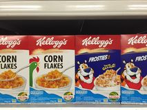 Kellogg`s cereal on shelf in hypermarket. Royalty Free Stock Photography