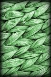 Kelly Green Palm Fiber Place Mat Coarse Plaiting Rustic Vignetted Grunge Texture Detail.  Stock Photos