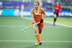 Kelly Jonker. THE HAGUE, NETHERLANDS - JUNE 2: Kelly Jonker (Netherlands) rushes with the ball in the match against Belgium at the Rabobank World Cup Hockey Royalty Free Stock Photos