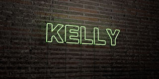 KELLY -Realistic Neon Sign on Brick Wall background - 3D rendered royalty free stock image stock photography