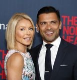 "Kelly Ripa and Mark Consuelos. TV personalities Kelly Ripa and husband Mark Consuelos arrive on the red carpet for the New York premiere of ""The Normal Heart Royalty Free Stock Photography"