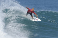 Kelly Slater riding the wave. Kelly Slater surfing in the Quicksilver Pro France 2011 Stock Images