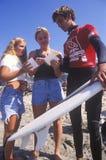 Kelly Slater, sieben setzen kennzeichnenden Autographe des Weltzeit surfenden Meisters, US sich öffnen vom Surfen, Weltsurfendes  Lizenzfreies Stockbild