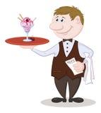 Kelner Deliver Ice Cream Stock Afbeeldingen