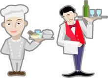 Kelner en chef-kok royalty-vrije illustratie