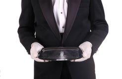 Kelner en Zilveren Dienblad royalty-vrije stock foto