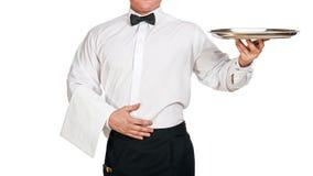 Kelner Holding Tray Royalty-vrije Stock Fotografie