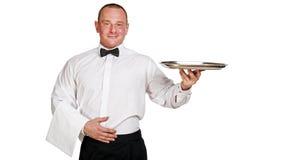 Kelner Holding Tray Stock Fotografie