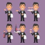 Kelner Holds Wine en Handdoek stock illustratie