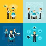 Kelner Man Icon Flat Royalty-vrije Stock Afbeeldingen