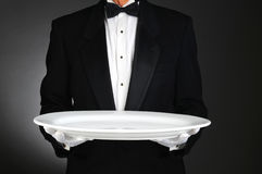 Kelner met Groot Wit Dienblad Stock Foto