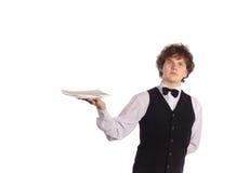 Kelner met leeg dienblad Stock Afbeelding