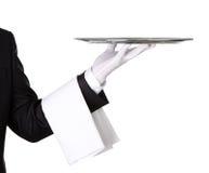 Kelner met leeg zilveren dienblad Stock Foto's