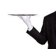 Kelner met leeg zilveren dienblad Royalty-vrije Stock Afbeeldingen