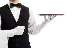 Kelner półpostać z pustą tacą Fotografia Royalty Free