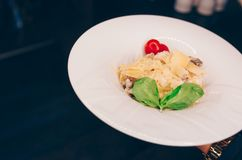 Kelner porcji Sałatkowy rucola szparagowy sałatkowy Caesar przy restauracją, zakończenie w górę widoku Łasowania i czasu wolnego  zdjęcie stock