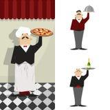 Kelner, set Kelner w tle restauracyjna ściana Obraz Royalty Free
