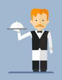 Kelner w white_apron Obrazy Stock